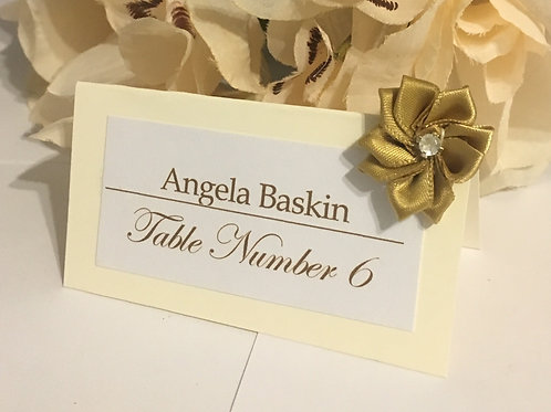 Off-White Place Cards with Gold Satin Flowers