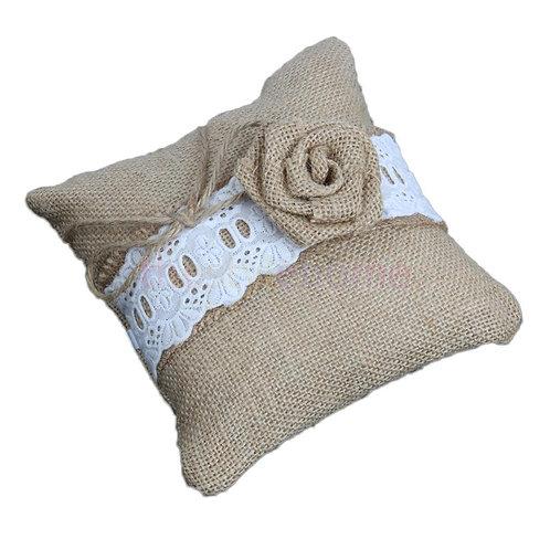 Rustic Brown Burlap Linen Rose Ring Cushion Pillow