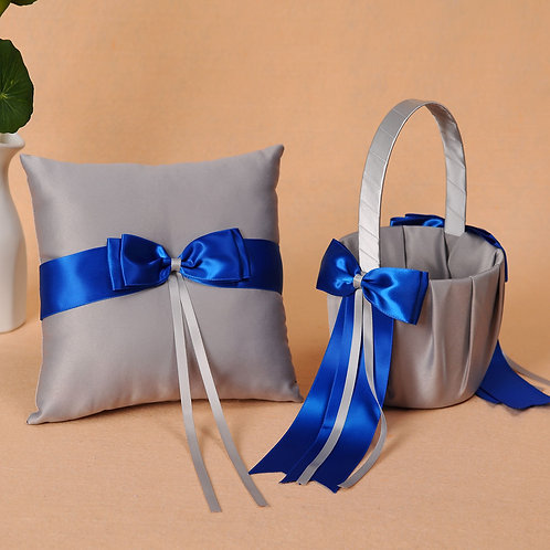 Satin Wedding Flower Girl Basket & Ring Pillow Set Gray & Blue