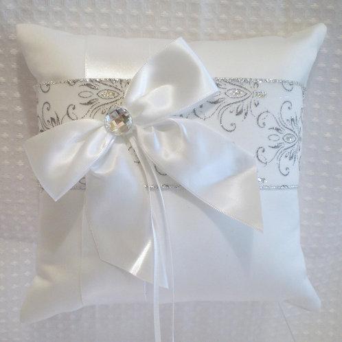 Silver Glitter & White Damask Wedding Ring Bearer Pillow
