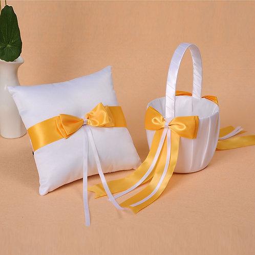 Satin Wedding Flower Girl Basket & Ring Pillow Set Yellow