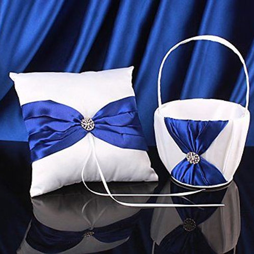 White Satin Blue Bow Ring Pillow and Flower Girl Basket Set
