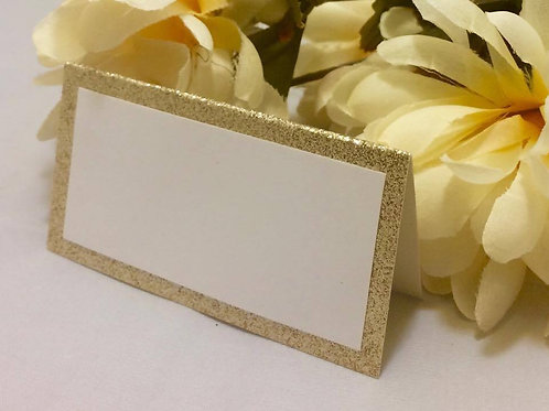 Shimmery Gold & White Place Cards - Qty 25