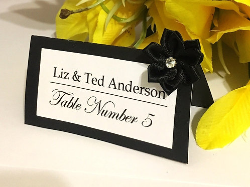 Black & White Place Card with Black Satin Flowers