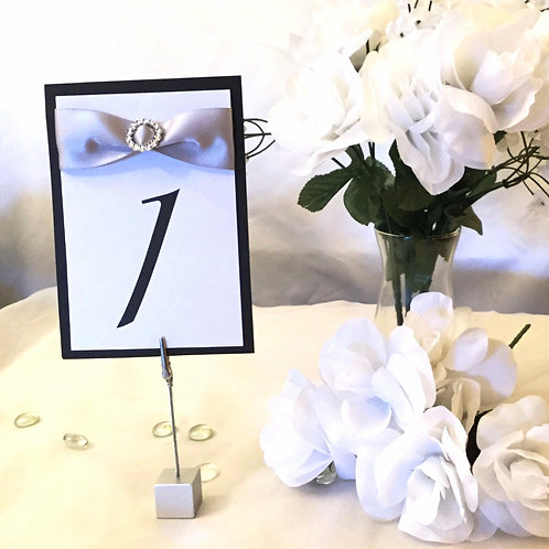 Table Numbers With Silver Ribbons & Round Ribbon Sliders - Starting at $5.49
