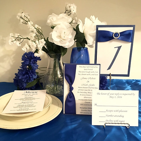 Blue & White Invitations with Side Ribbons