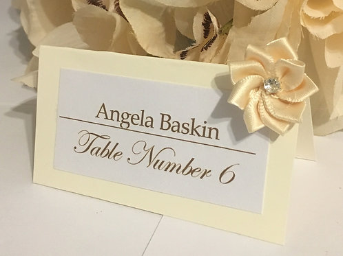 Off-White Place Cards with Cream Satin Flowers