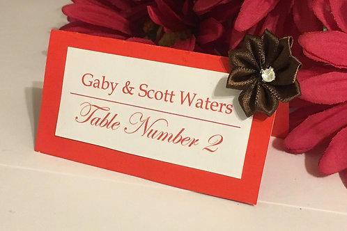 Red-Orange & White Place Cards With Olive Satin Ribbons