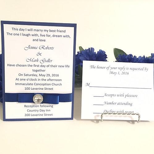Royal Blue Invitation With Rhinestone