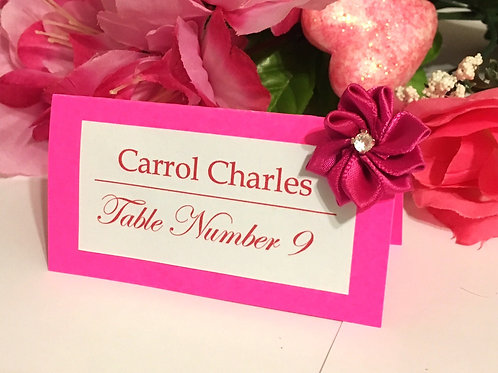 Bright Pink Place Cards with Rose Satin Flowers