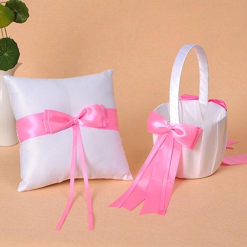 Satin Wedding Flower Girl Basket & Ring Pillow Set Hot Pink