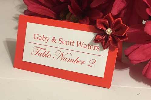 Red-Orange & White Place Cards With Deep Red Satin Ribbons