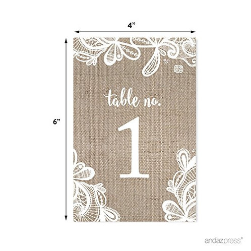 Burlap Lace Wedding Collection, Table Numbers 1 - 20