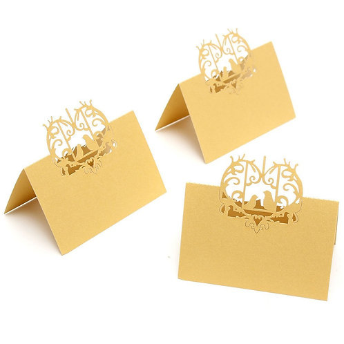 Gold Laser Cut Perfect Pair Love Birds Place Cards - Starting at $11.99