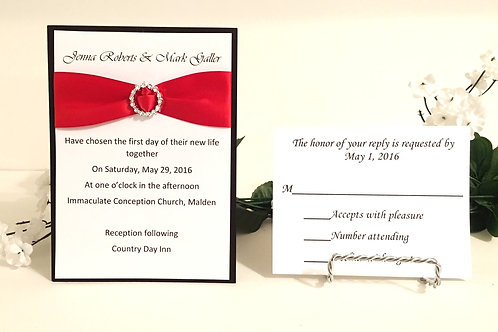 Black, White, & Red Invitation Set With Ribbon Slider
