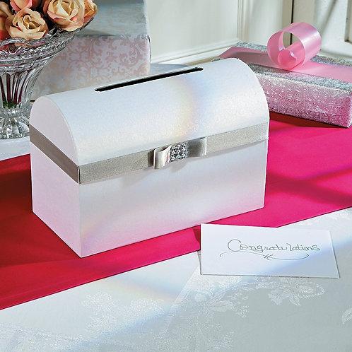 Wedding Card Box with Silver Bow