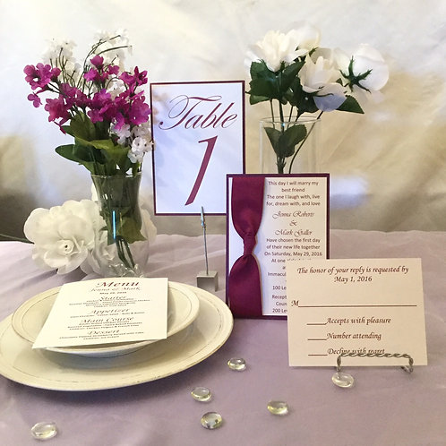 Burgundy & White Invitations with Side Ribbon