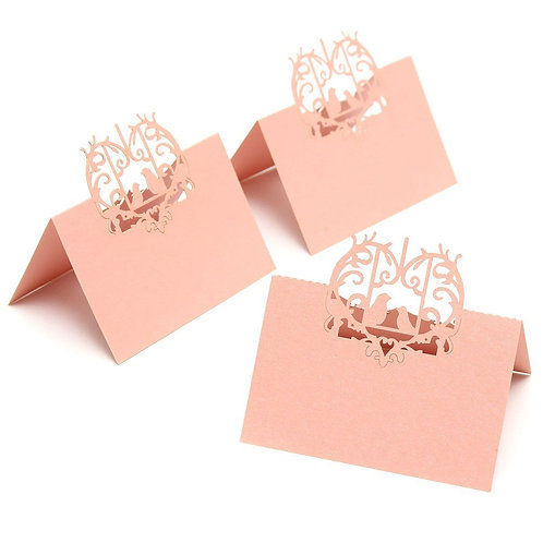 Pink Laser Cut Perfect Pair Love Birds Place Cards - Starting at $11.99