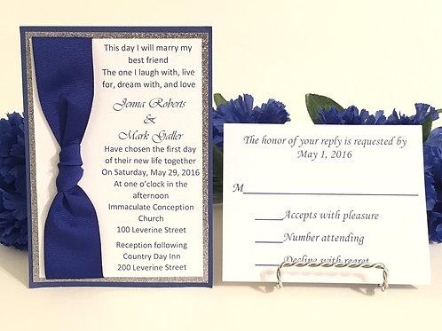 Dark Blue & White With Glitter Card Stock Invitations
