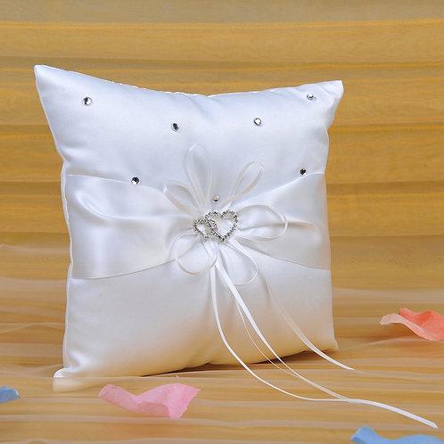 Ivory Satin Double Hearts Wedding Ring Bearer Pillow