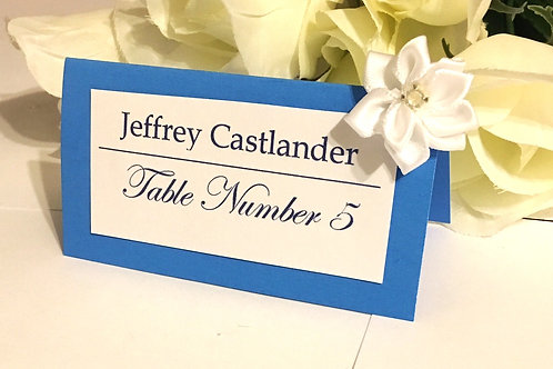 Lt Blue Place Cards with White Satin Flowers