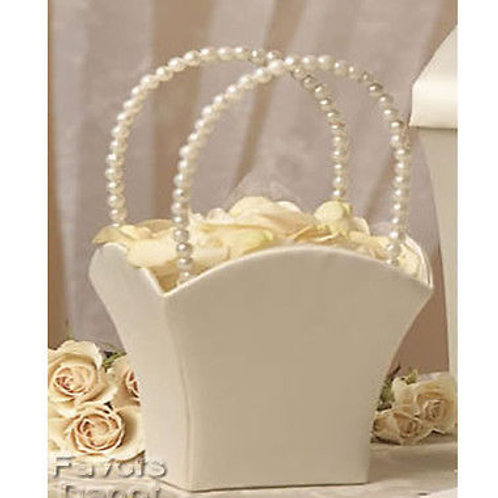 Off-White Flower Girl Basket With Pearl Handles