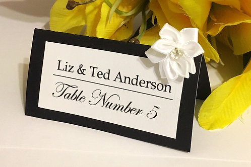 Black & White Place Card with White Satin Flowers