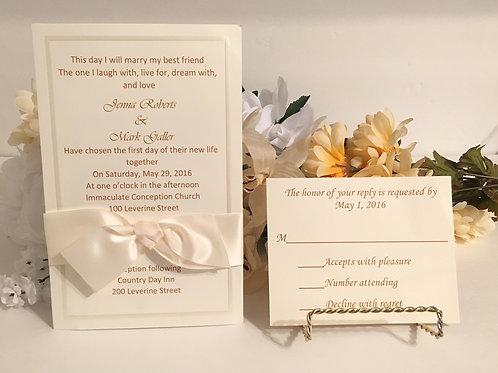 Off-White Invitation Set with Satin Ribbon