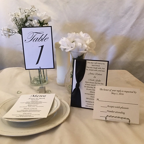 Black & White Invitations with Side Ribbons