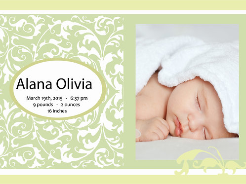 Birth Announcement Style 6 (Includes Envelopes) - As low as $0.99 each