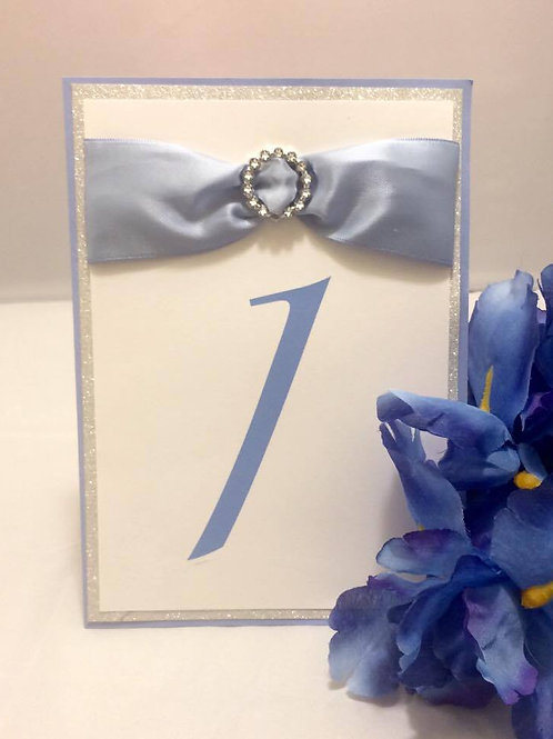 Glittery Blue & White Table Numbers With Ribbons & Buckles