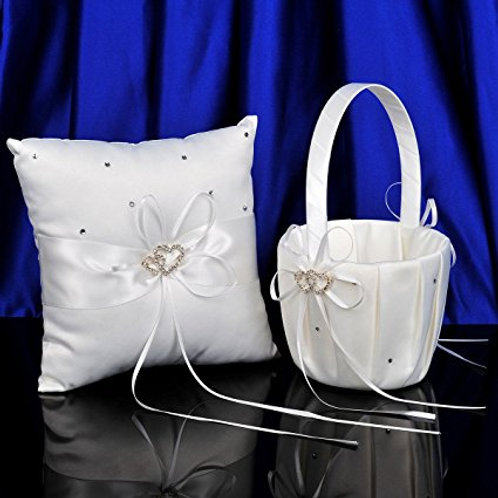2 Heart Rhinestones Ivory Satin Flower Girl Basket and Ring Pillow Set