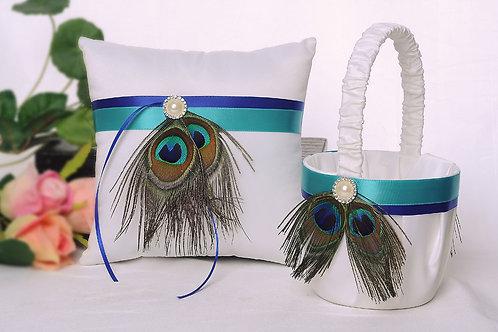 Satin Wedding Flower Girl Basket & Ring Pillow Set Peacock Design