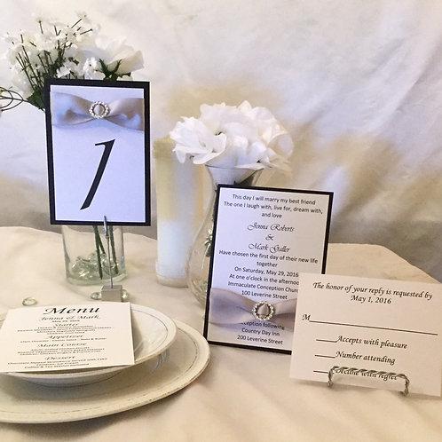 Black, White, Lavender Invitations w/Satin Ribbon & Sliders