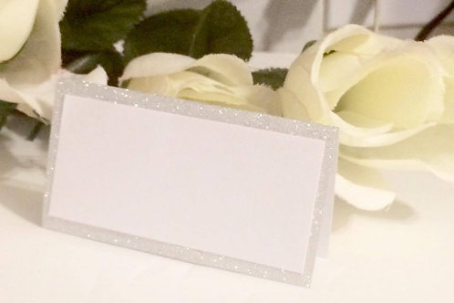 Shimmery Silver & White Place Cards - Qty 25