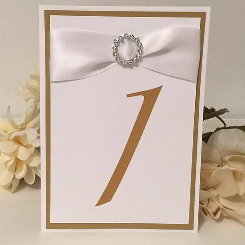 Gold With White Ribbons Table Numbers