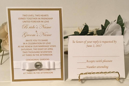 Gold Invitation Set with White Satin Ribbons & Rhinestone