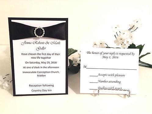 Black & White Invitation Set with Black Ribbon and Slider