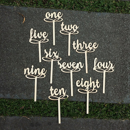 Wooden Table Numbers on Sticks 1-10
