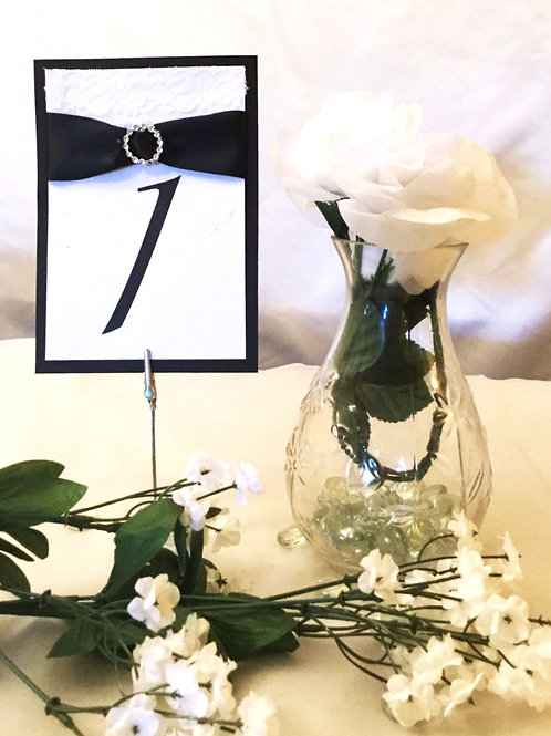 Table Numbers With Black Ribbons & Round Ribbon Sliders