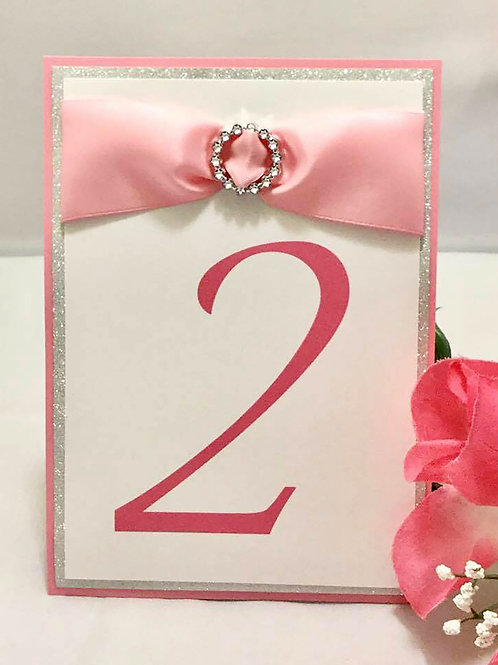 Glittery Pink & White Table Numbers With Ribbons & Buckles