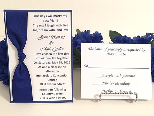Elegant Blue Invitation Set & Response Cards