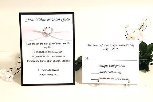 Black & White Invitation With White Ribbon & Slider Set