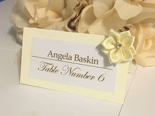 Off-White Place Cards with Beige Satin Flowers