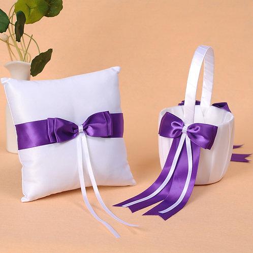 Satin Wedding Flower Girl Basket & Ring Pillow Set Dark Purple