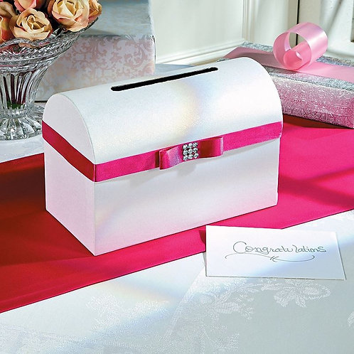 Wedding Card Box with Pink Bow