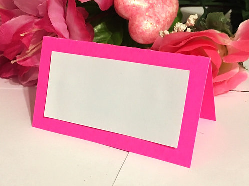 Bright Pink Place Cards - Blank or Personalized