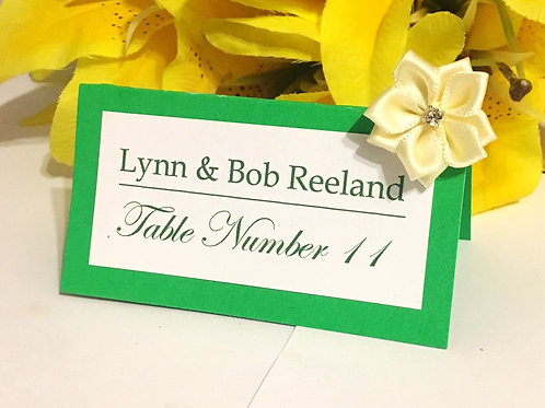 Green & White Place Cards with Beige Satin Flowers - Qty 50