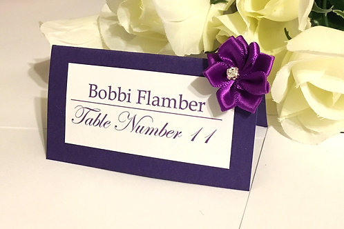 Purple and White Place Cards with Purple Satin Flowers