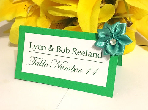 Green & White Place Cards with Teal Satin Flowers - Qty 50